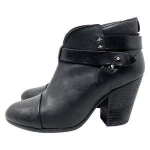 Rag and Bone Black Harrow Leather Ankle Boots